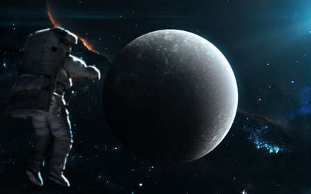 Planet Mercury in blue light. Solar system. Science fiction art. Image in 5K for desktop wallpaper.