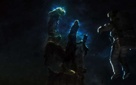Pillars of Creation. Astronaut in deep space. Science fiction art. Image in 5K for desktop wallpaper. Elements of the image were furnished by NASA