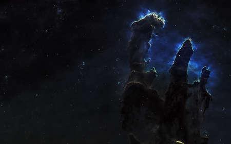 Säulen der Schöpfung, Nebel, Sternhaufen. Schöne Weltraumlandschaft. Science-Fiction-Kunst. Bild in 5K für Desktop-Hintergrund. Elemente des Bildes wurden von der NASA bereitgestellt