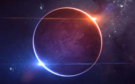 Planet in einem Doppelsternsystem. Rote und blaue Sterne im Weltraum. Science-Fiction. Elemente dieses von der NASA bereitgestellten Bildes