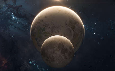 Moon in front of Earth in sunshine. Solar system. Science fiction. Elements of this image furnished by NASA