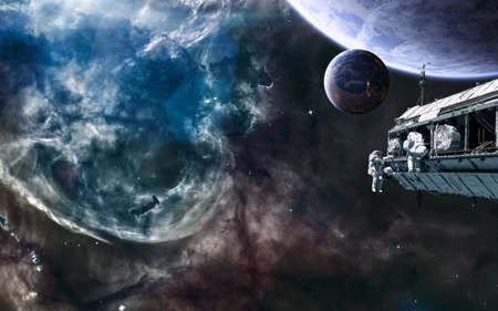 Deep space landscape, nebulae, planets, space station. Science fiction.