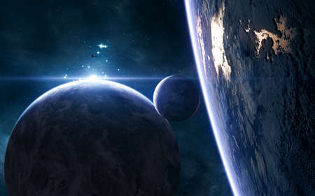 Planets of deep space in blue rays of a star cluster. Science fiction.