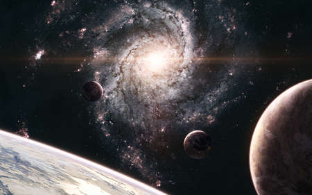 Planets in background of galaxy somewhere in deep space. Science fiction. Elements of this image furnished by NASA