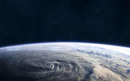 Aarde landschap Uitzicht vanuit de ruimte. Zonnestelsel. Stockfoto