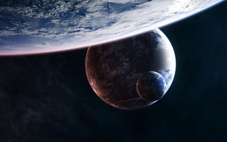 Planets in deep space. Science fiction. Stock Photo