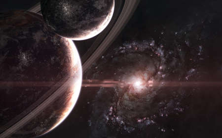 Planets on background of galaxy. Somewhere in deep space. Science fiction.