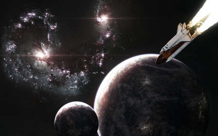 Double red galaxy, planets in deep space. Space shuttle in open space. Science fiction.