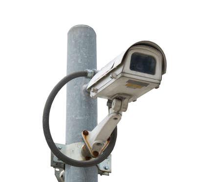 paranoia: CCTV security camera on white background Stock Photo