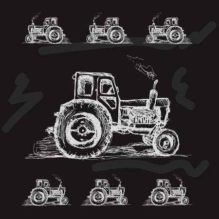 tractor in field: Free hand drawn tractor on black background. Vector illustration.