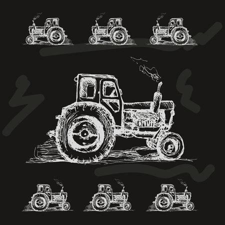 Wolną rękę wyciągnąć ciągnik na czarnym tle. ilustracji wektorowych.