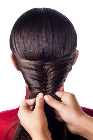 hair style: weave beautiful french braid isolate on white