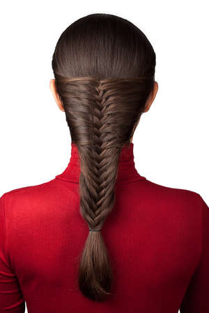 elegance hairstyle french braid isolate on white Foto de archivo