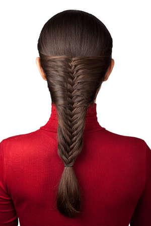cabeza de mujer: elegancia peinado de trenza franc�s aislar en blanco