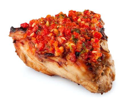 beefsteaks: steak turkey fillet with spicy adzhika isolate on white