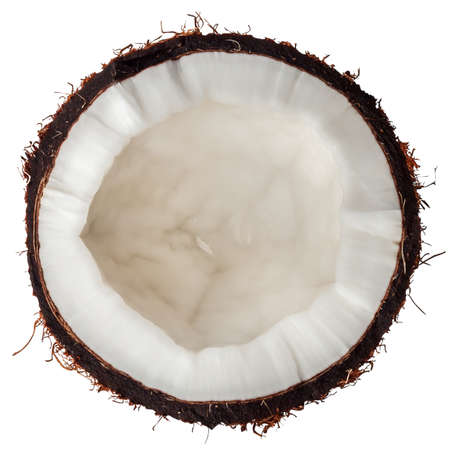 one half coconut top view isolated on white  background