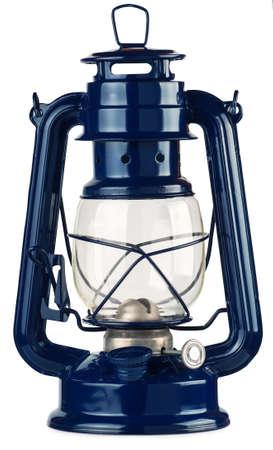 blue kerosene lantern isolated on white background