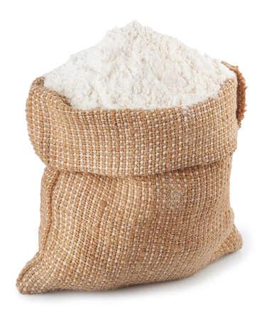 flour in burlap sack isolated on white background