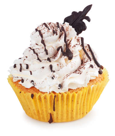 drizzle: Cupcake with chocolate drizzle isolated on white background