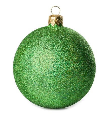 groene glanzende Kerst bal op een witte achtergrond Stockfoto
