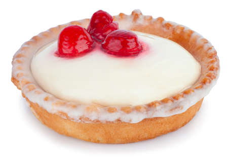 tartlet with panna cotta and fresh raspberries isolated on white background Stock fotó