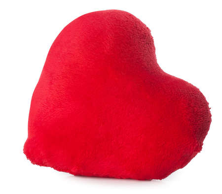 plush: Soft red plush heart isolated on white background