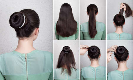 bun: Hairstyle tutorial  elegant bun with chignon and string of pearls