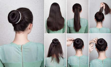 Peinado tutorial elegante moño con moño y collar de perlas