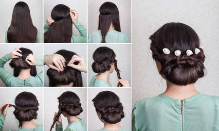 Simple beautiful hairdo for long hair with flowers self tutorial Archivio Fotografico