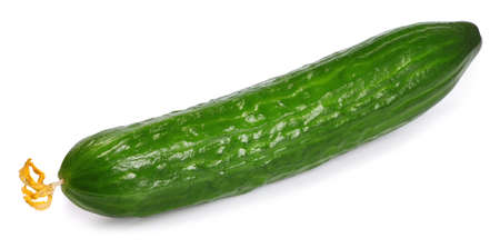 cuke: one fresh long cucumber with flower isolated on white background Stock Photo
