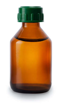one medicine bottle of brown glass with liquid without label isolated on white background