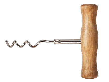 uncork: one corkscrew with wooden handle isolated on white background