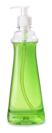 liquid: bottle of green dishwashing liquid detergent with batcher isolated on white background