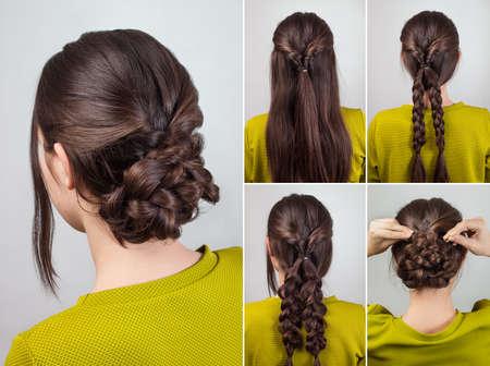 simple elegant hairdo for long and medium hair tutorial Zdjęcie Seryjne - 55148796