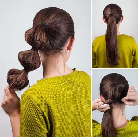 pony tail: simple casual hairstyle pony tail with scrunchy tutorial Stock Photo