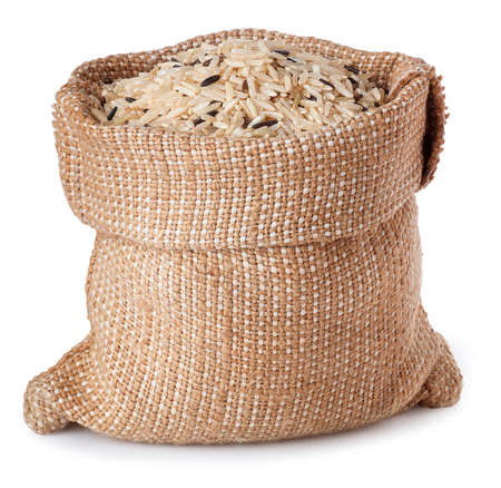 mixed of brown and wild rice in burlap bag isolated on white background