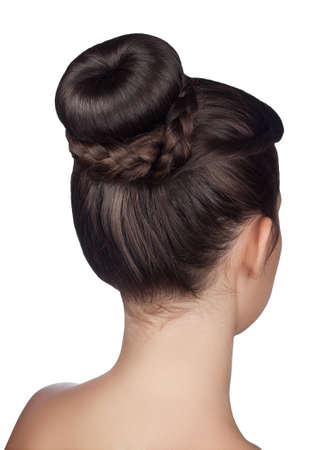 elegant hairstyle bun with braid isolated on white background Stockfoto