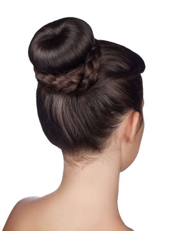 elegant hairstyle bun with braid isolated on white background Foto de archivo