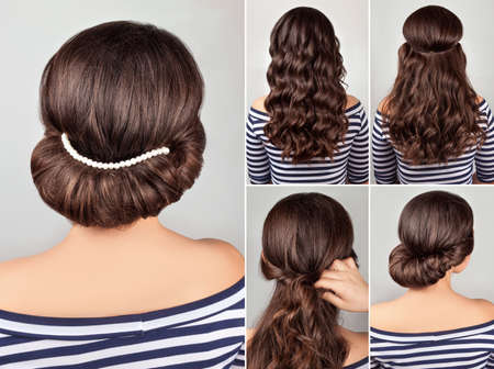 greek style hairdo with string of pearls tutorial. Hairstyle for long hair. Sea style. Foto de archivo