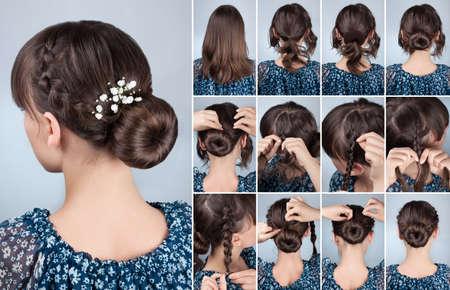 romantique tressée bun updo avec des fleurs tutoriel. Coiffure pour les cheveux milieu