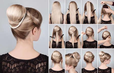髪型チュートリアル エレガントなお団子シニヨンと真珠の文字列。レトロな髪型お団子と金髪の女性