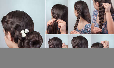 romantic braided bun updo with flowers tutorial