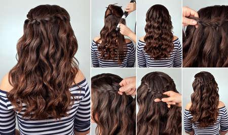 la coiffure? Ascade tresse sur tutoriel de cheveux bouclés. Coiffure pour cheveux longs. style mer