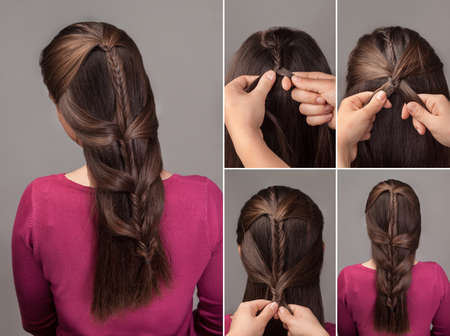 fishtail: fishtail braid tutorial .Method of french braid.Process of weaving fishtail braid.Hairstyle for long hair