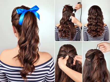 pony tail: simple hairstyle pony tail on curly hair tutorial. Hairstyle for long hair. Sea style Stock Photo