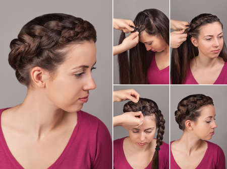 Process of weaving braid.Hairstyle for long hair.Boho style