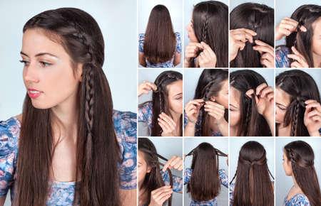loose hair: simple hairstyle braid for long loose hair tutorial backstage. Hair model brunette
