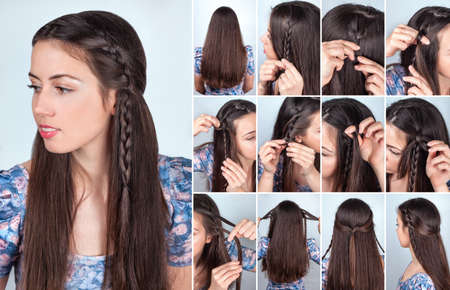 simple hairstyle braid for long loose hair tutorial backstage. Hair model brunette