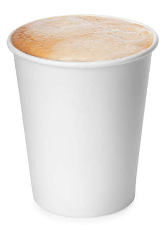 take: disposable paper cup of coffee with foam isolated on white background with clipping path. Coffe-to-go