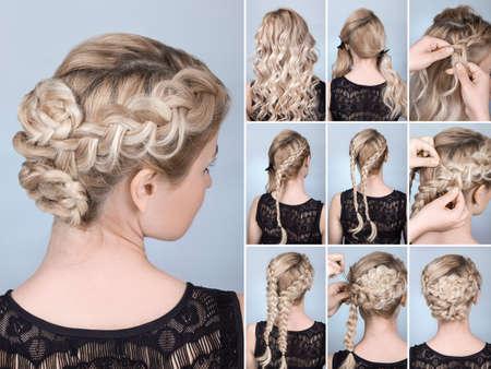 trenza peinado en rubia modelo tutorial. Peinado para el pelo largo Foto de archivo